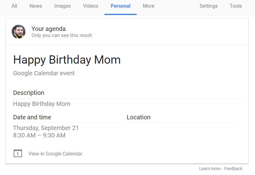 Google Personal Search Calendar